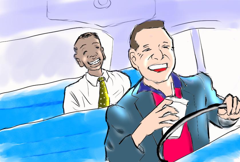 車の中で笑う二人