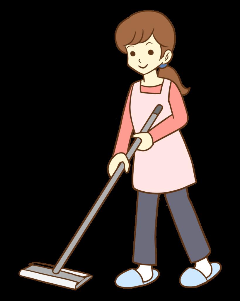 モップを使った床掃除