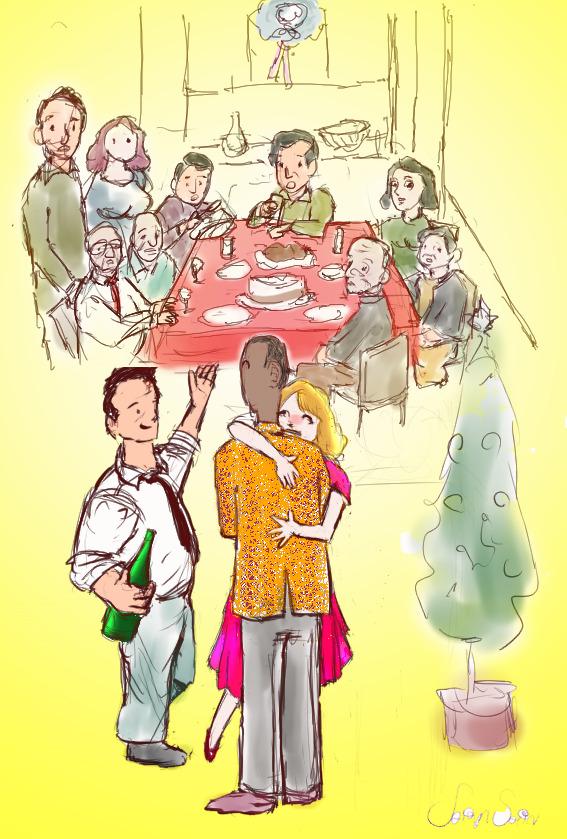 クリスマスパーティに訪問するドク