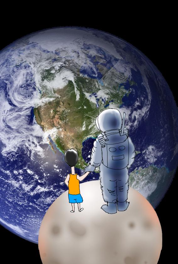 月の上から地球を見る